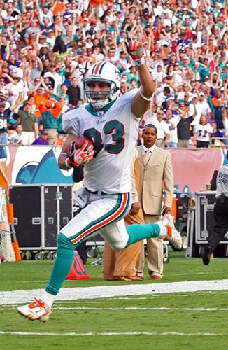 Greg Camarillo playing football as a Dolphin