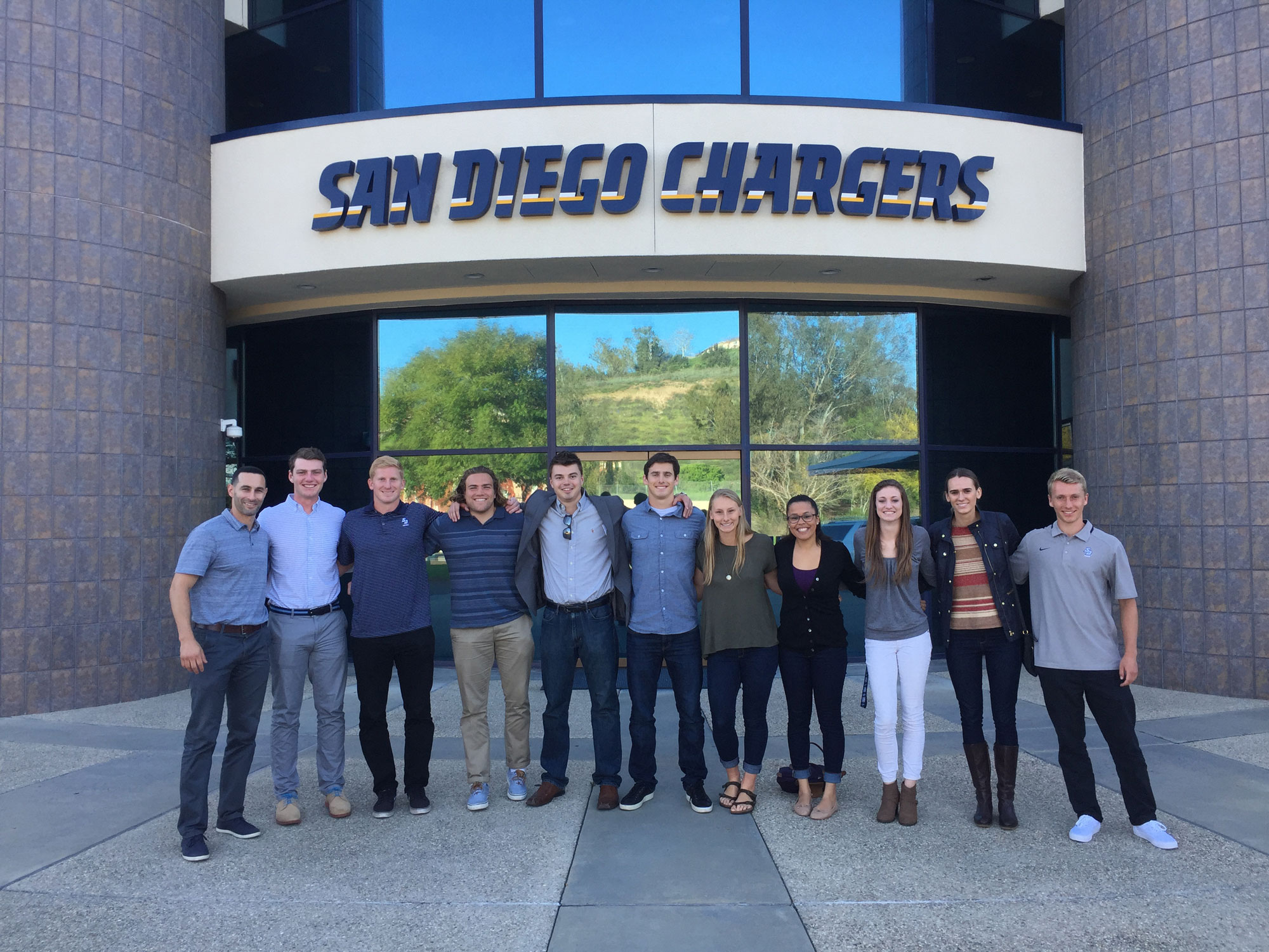 Greg Camarillo visiting San Diego Chargers with students