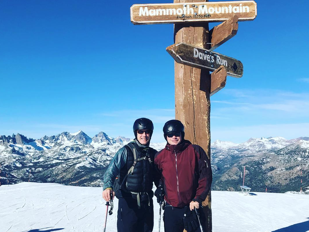 Mark Pattison skiing with friend