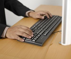 man at keyboard
